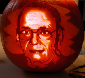 Pumpkin with Robbie carving