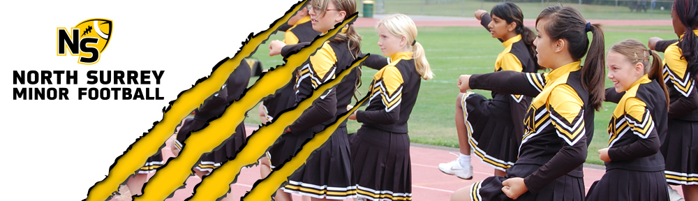 Banner header cheerleaders punching forward