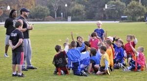 Coach with flag team