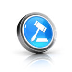 gavel auction blue glass icon