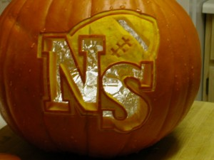 Pumpkin with NS logo carved