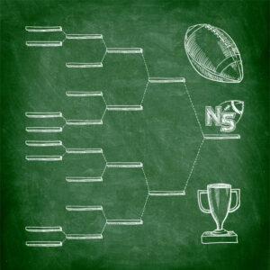 Playoff bracket drawn on chalkboard